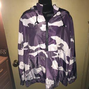 Purple camouflage three quarter zip rain slicker